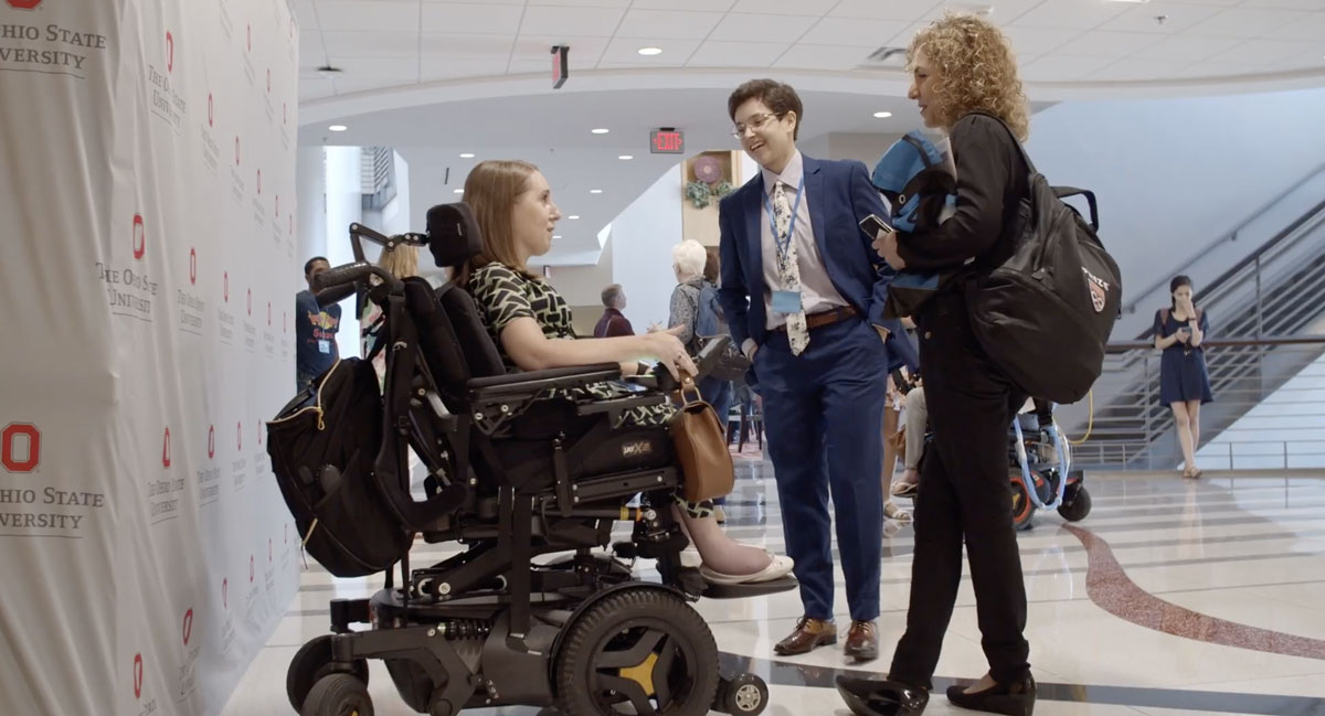 Anouseh Ansari (right), and Miss Wheelchair USA, Heather Tomko (left), at the 2019 SciAccess Conference, hosted at Ohio State.